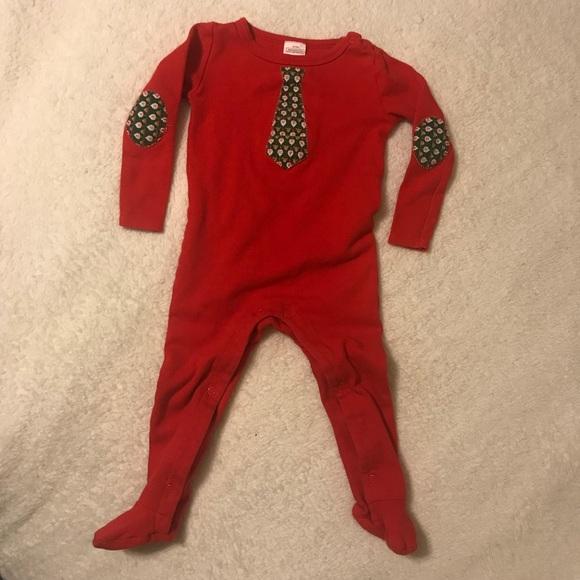 Other - Christmas Santa Reindeer tie red sleeper footie PJ